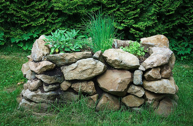 Stone Raised Garden Bed