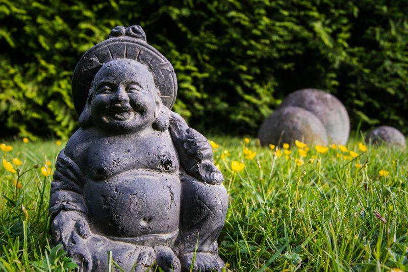 Buddha statue in feng shui garden