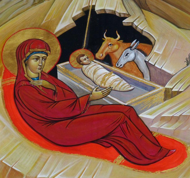 painted Nativity scene