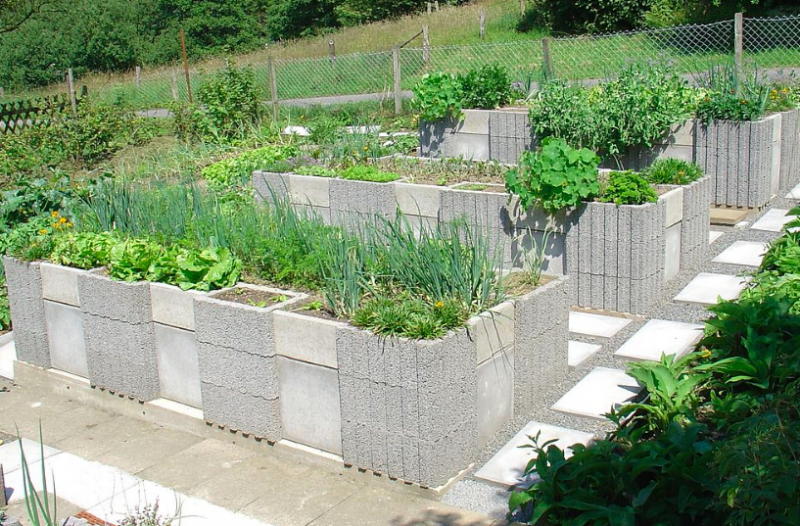 Cinder block raised bed
