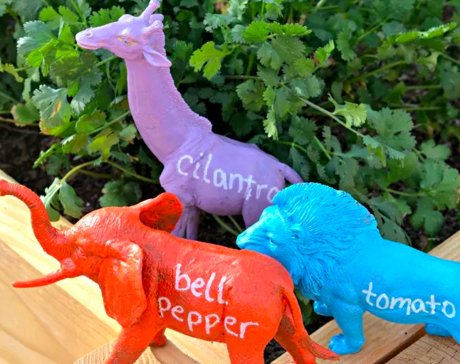 Plastic toy plant markers