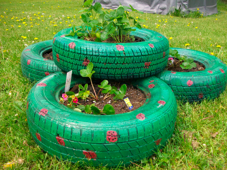 Tires for a tiered strawberry planter