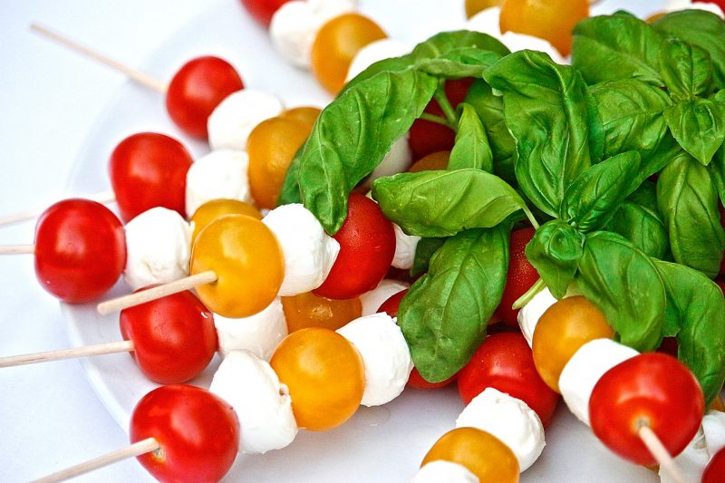 Caprese salad with sweet basil