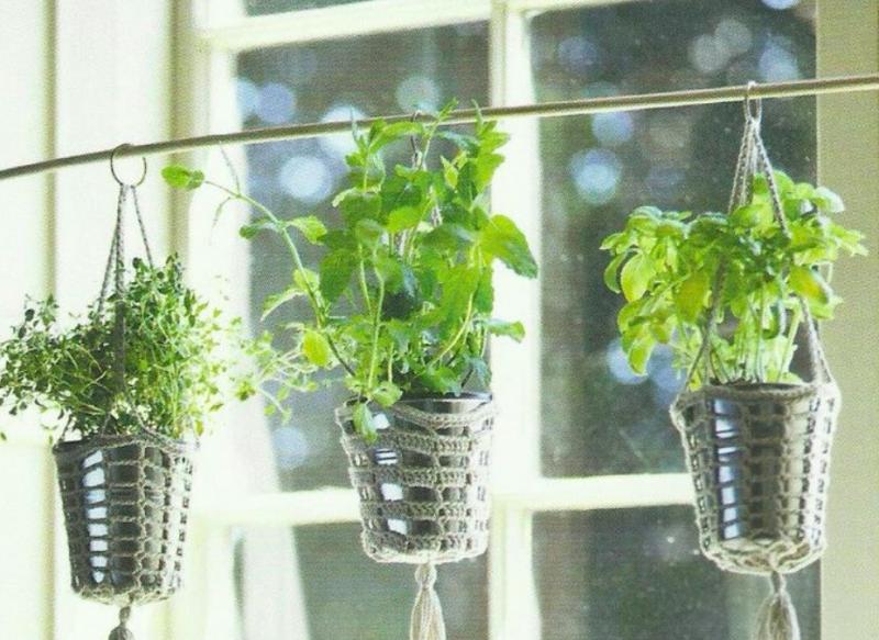 Hanging herb garden pots