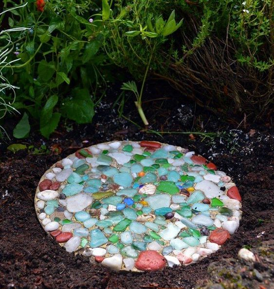 Glass garden stepping stones