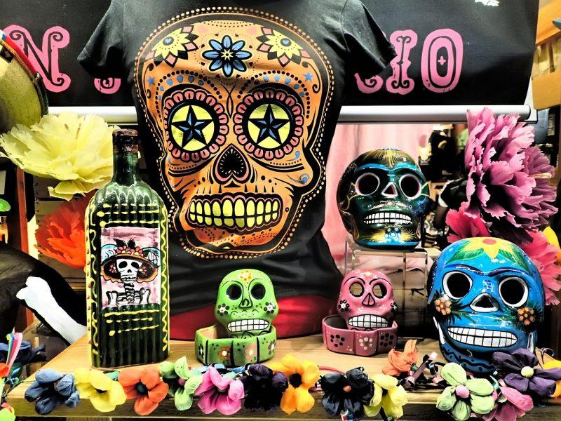 Sugar skulls Thanksgiving centerpiece